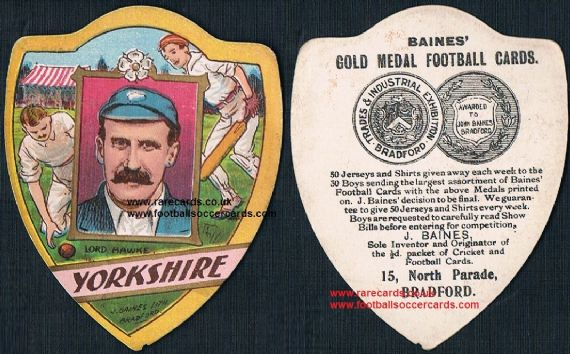 1900s Lord hawke Yorkshire County Cricket team Baines card